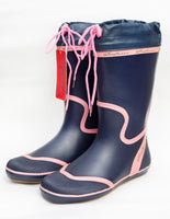 Seafarer Wellies - Navy with Pink Trim and Toggle