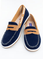COOLERS Navy Tan Slip on Deck Shoe