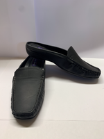 Black Leather Slip-on Deck Shoe CLEARANCE
