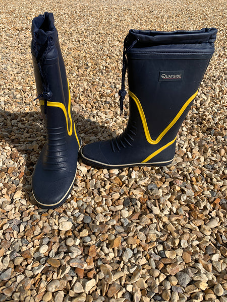 QUAYSIDE WELLIES - Navy Yellow with Navy Lace and Toggle CLEARANCE