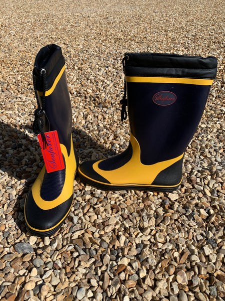 SEAFARER WELLIES - Navy Yellow with Black Lace and Toggle CLEARANCE