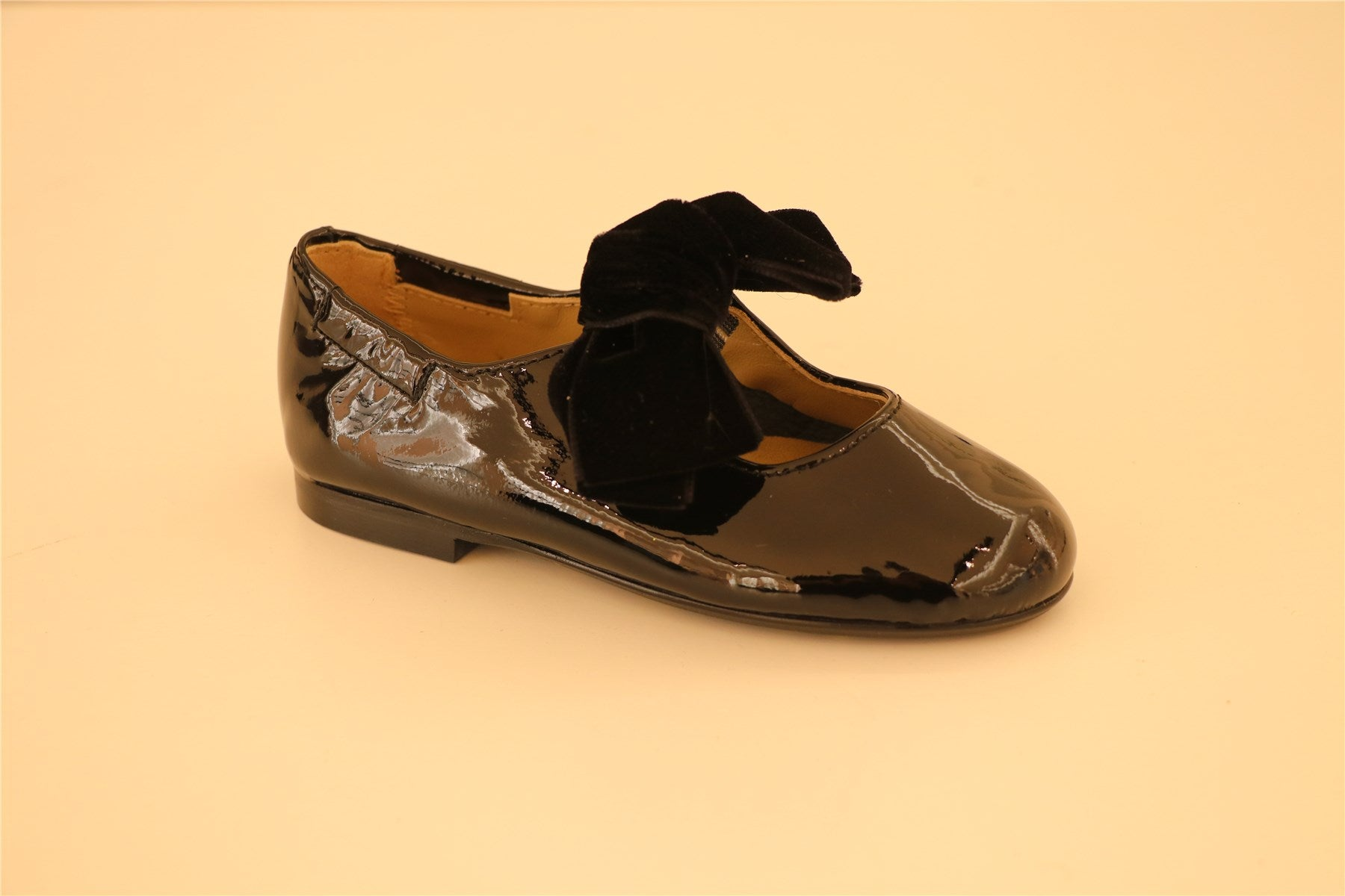 Black Patent Leather Velour Bow Strap