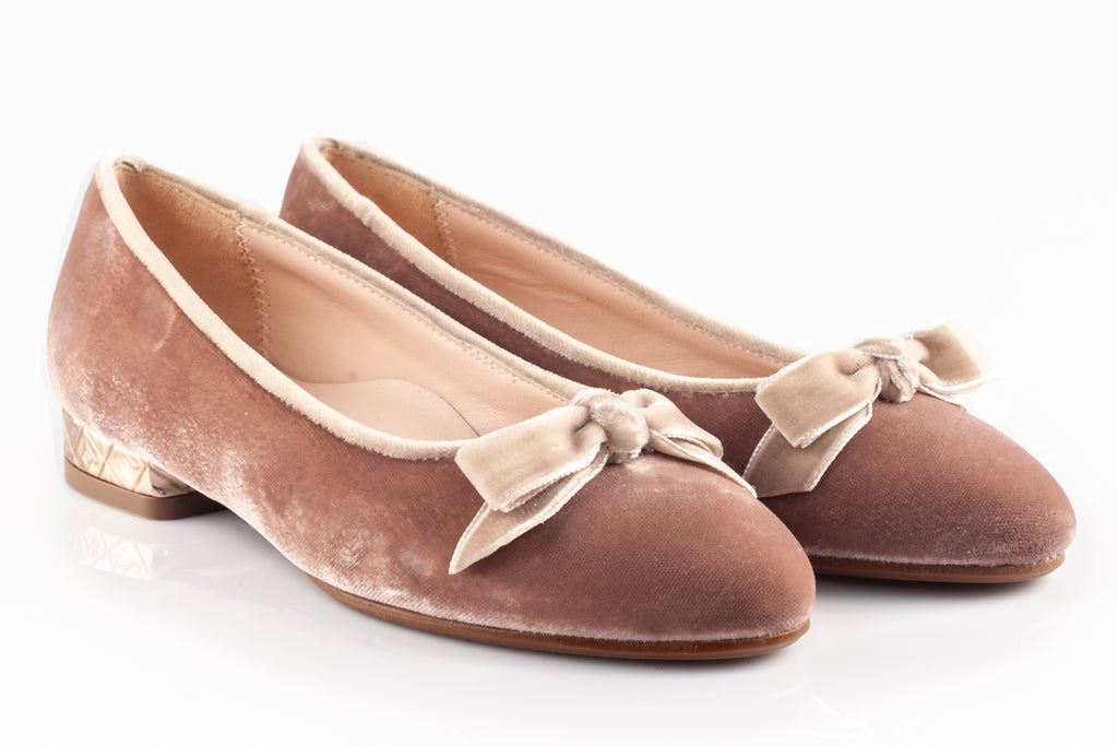 Rose Pink Velour Low square Heal Shoes