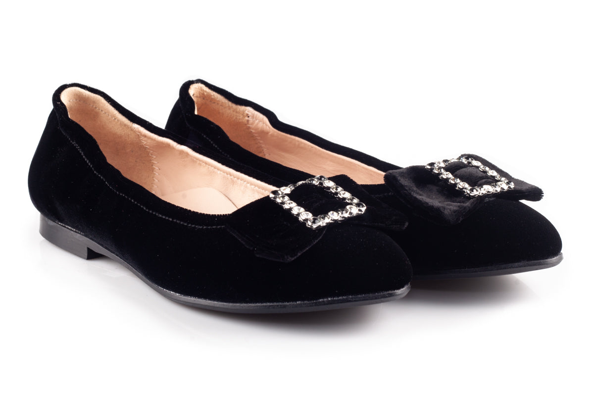 Black Velour flats With Square Bow