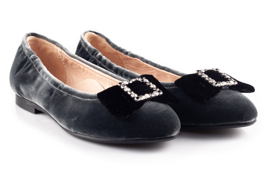 Grey Velour Flats With Black Square Bow