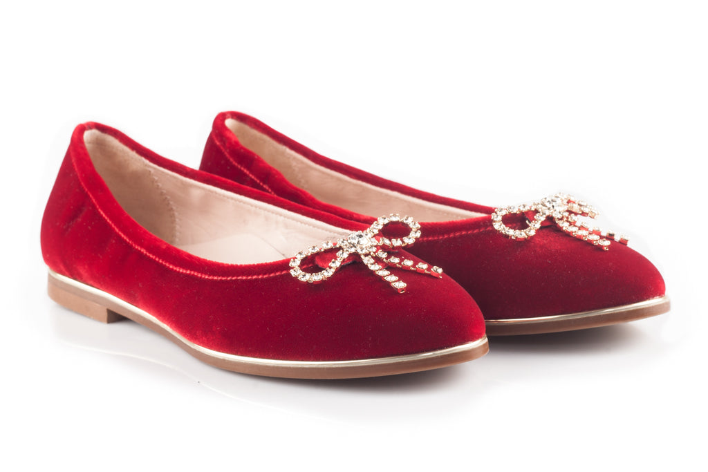 Red Velour Flats With Studs Bow