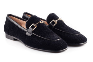 Black Velour Square Buckle Loafers
