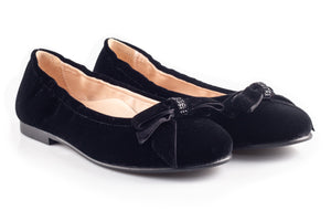 Black Velour Women Flats With Bow