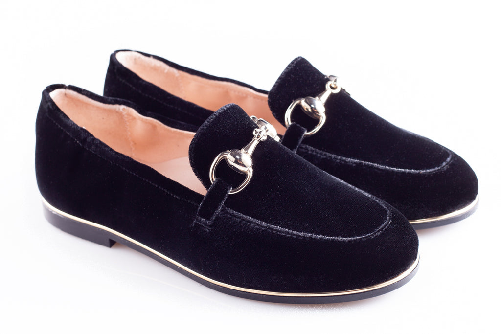 Black Velour Buckle Loafer