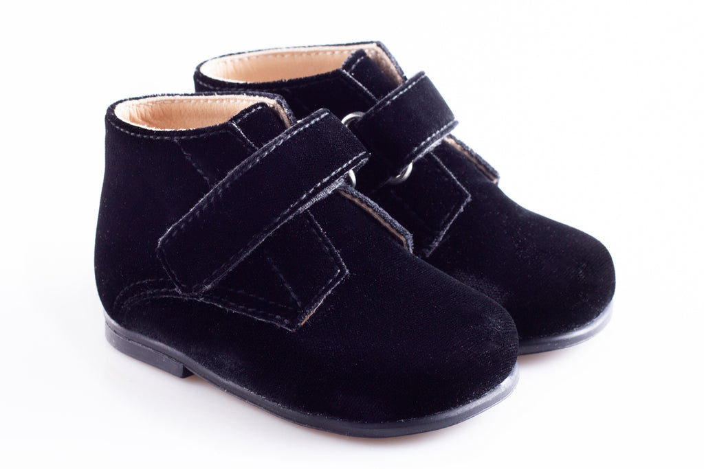 Black Velour Strap First Step Tall shoe