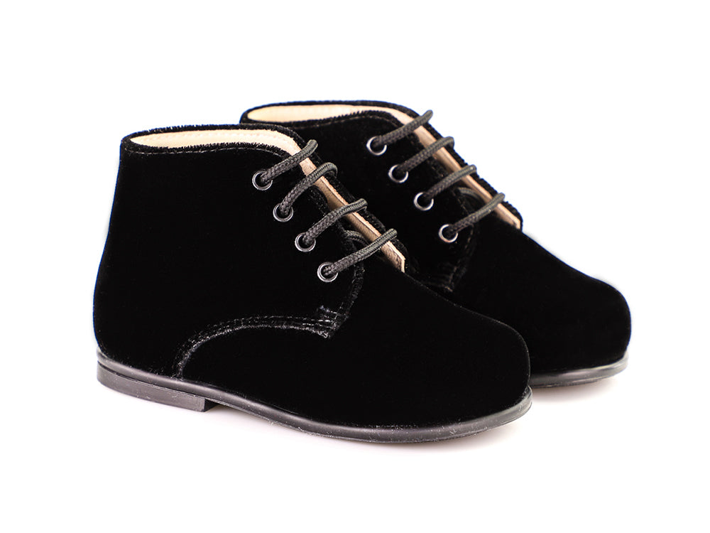 Black Velour Tall First Step Shoe