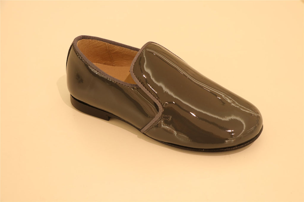 Grey Patent-Leather little Boy Loafer