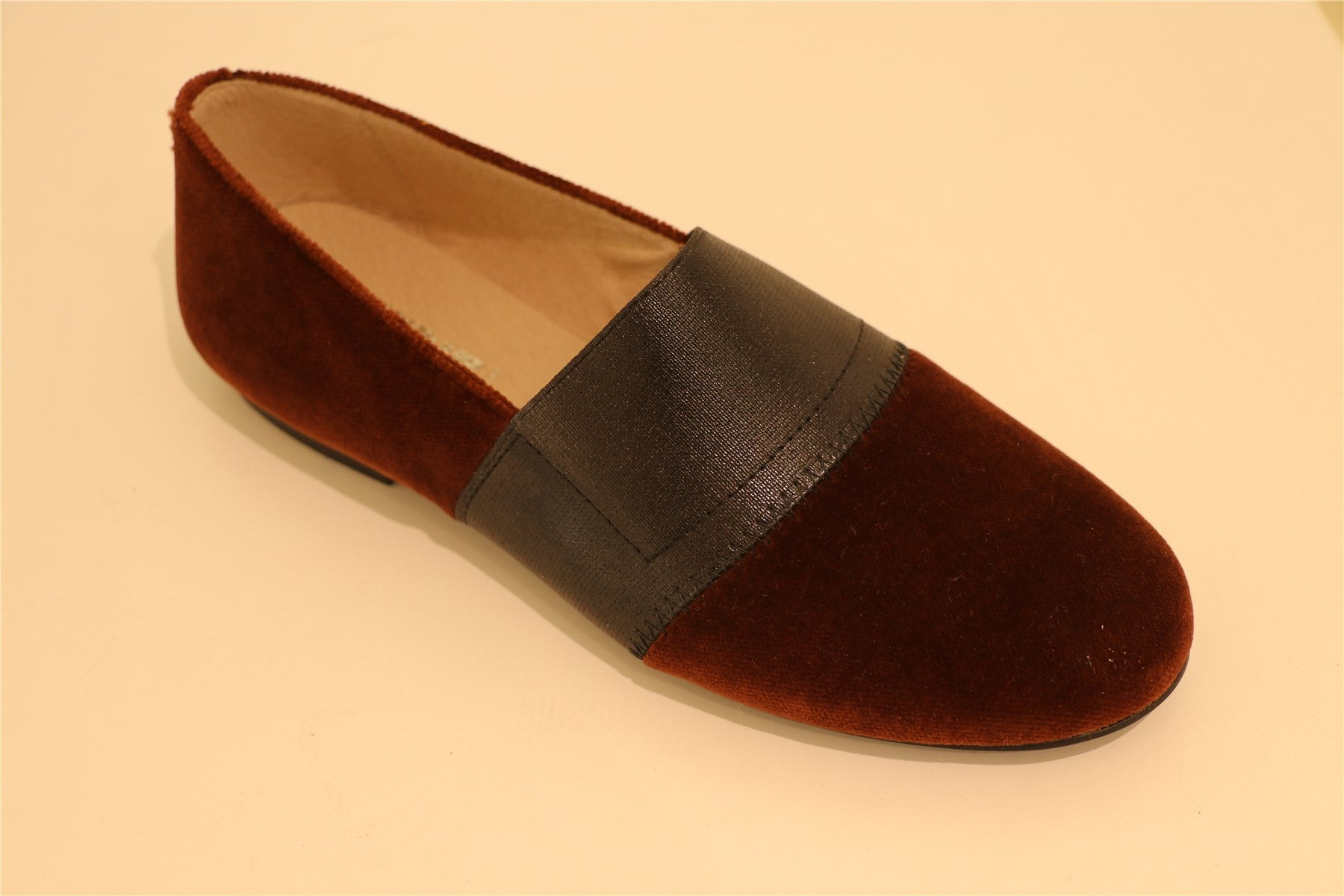 Brown Suede With Black Leather Strap Big Girl Loafer