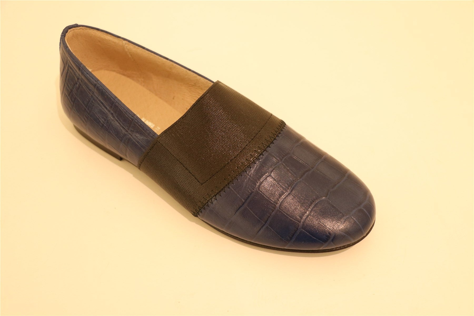 Navy Blue Crocodile-Leather With Black Strap Big Girl Loafer