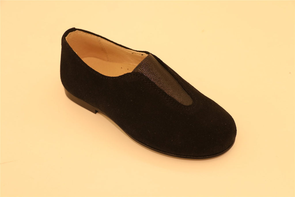 Black Suede Stretch Little Kid Loafer