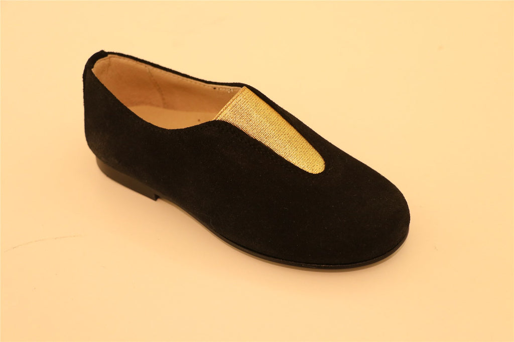 Black Suede Gold Stretch Little Kid Loafer