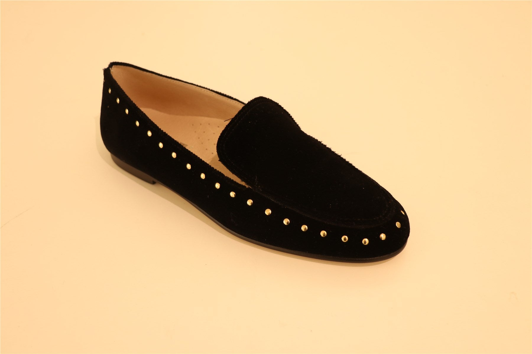 Black Suede Women Gold Studs Loafers