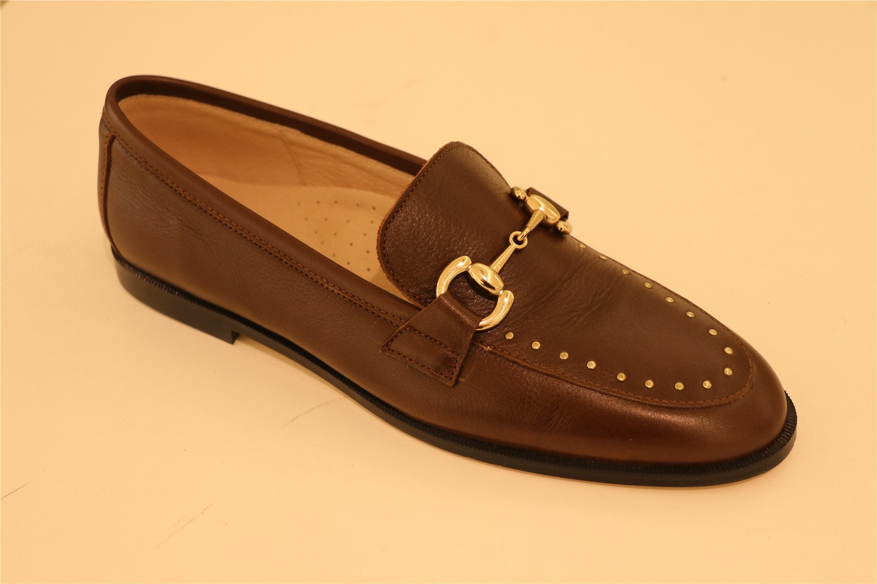 Brown Leather Gold Studs Loafer