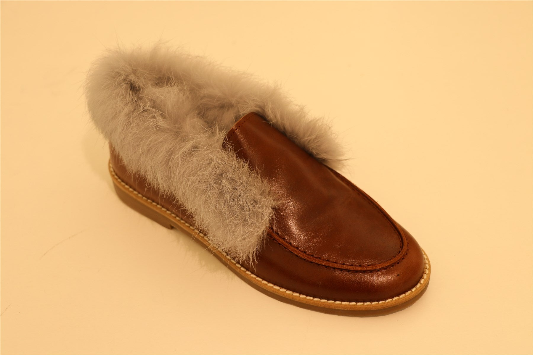 Brown Leather with Grey Fur Loafer