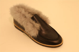 Black Leather with Grey Fur Loafer