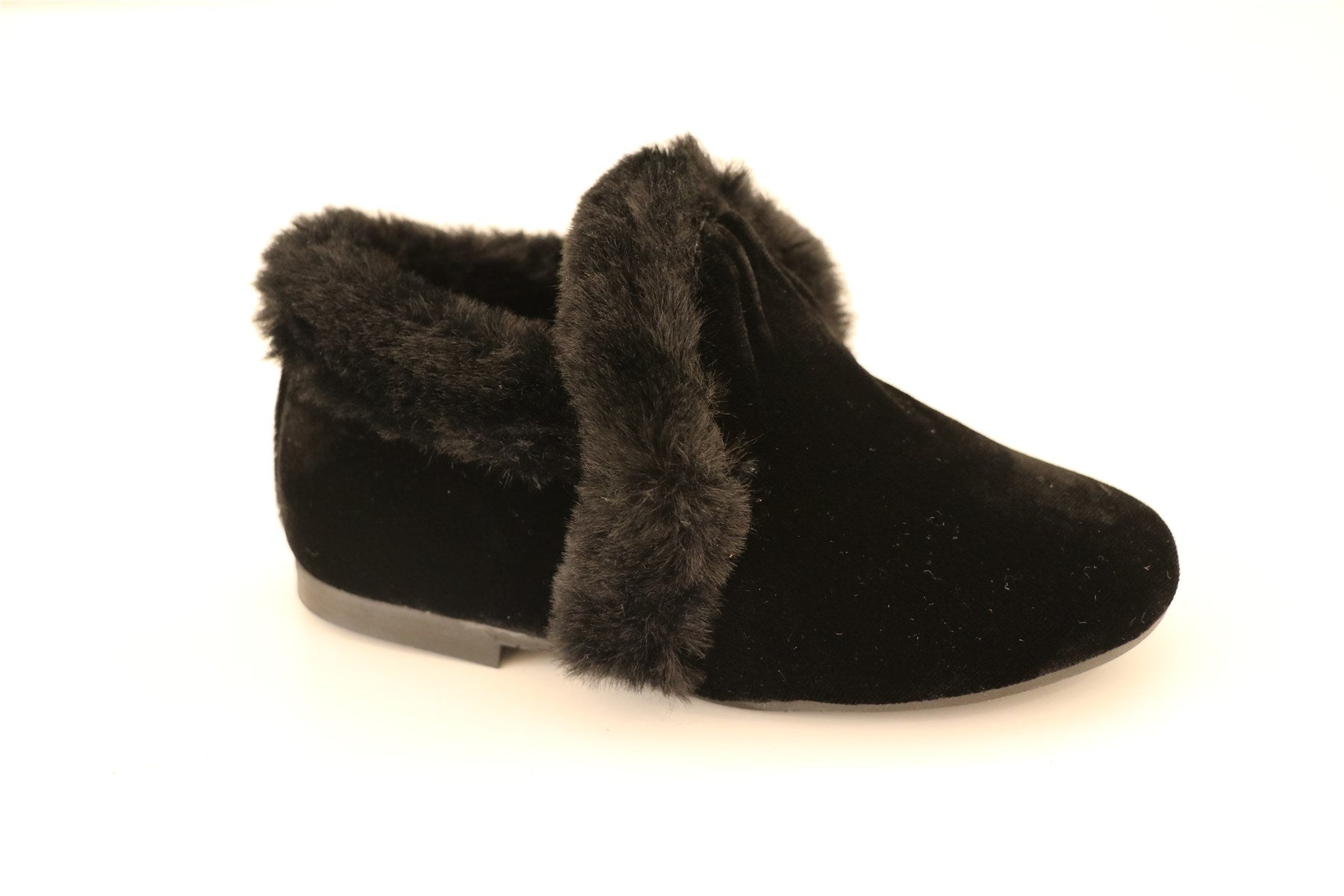 Black Velour And Fur Booties
