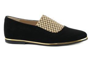 Black Suede And Gold Check Strap Loafer