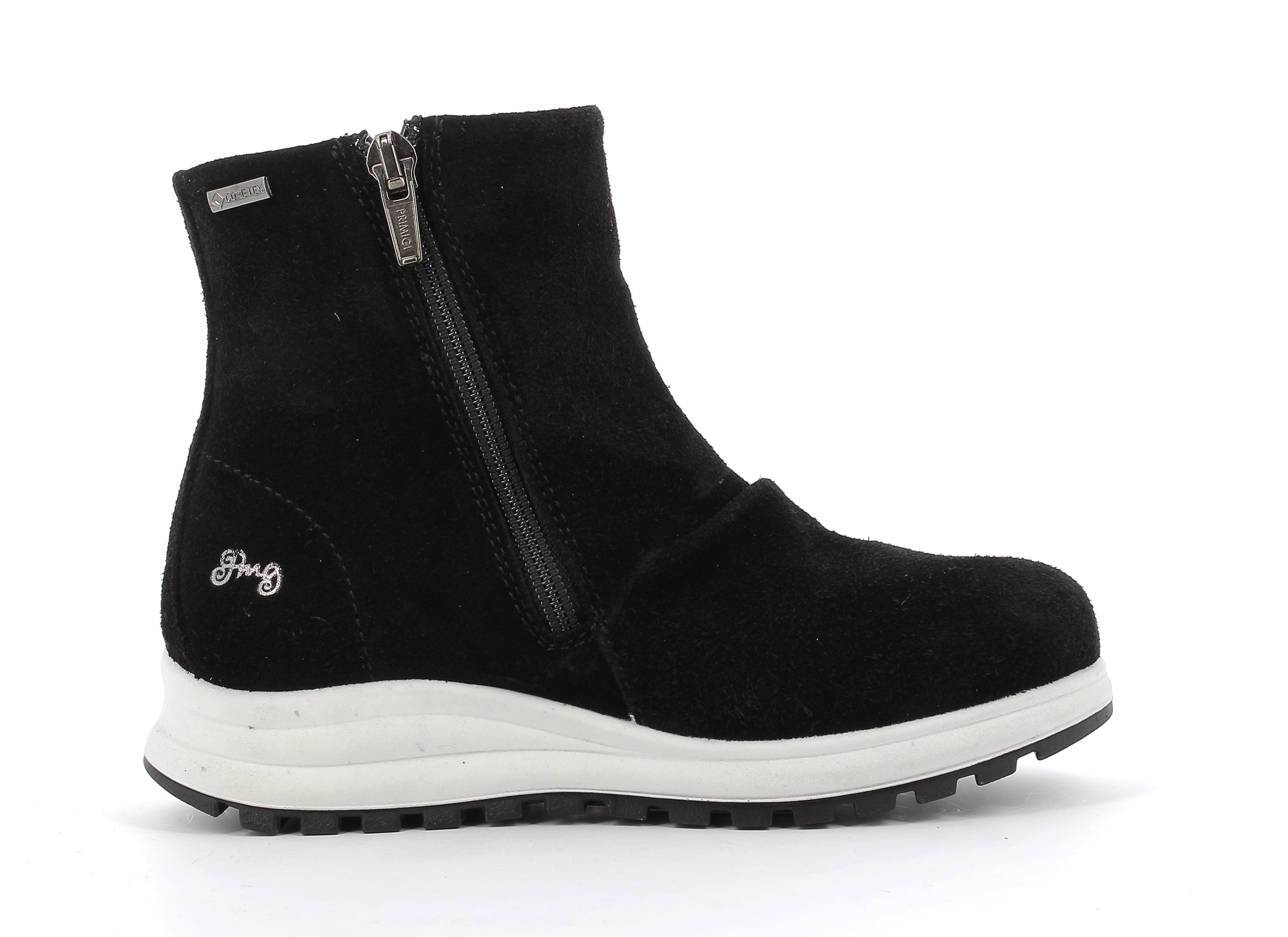 Black Suede With White Sole Sporty Look Booties With Zipper