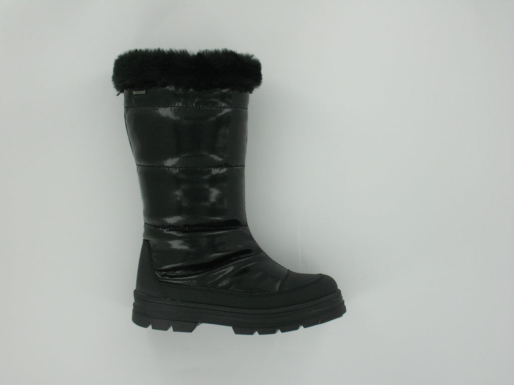 Black shiny Boots With fur