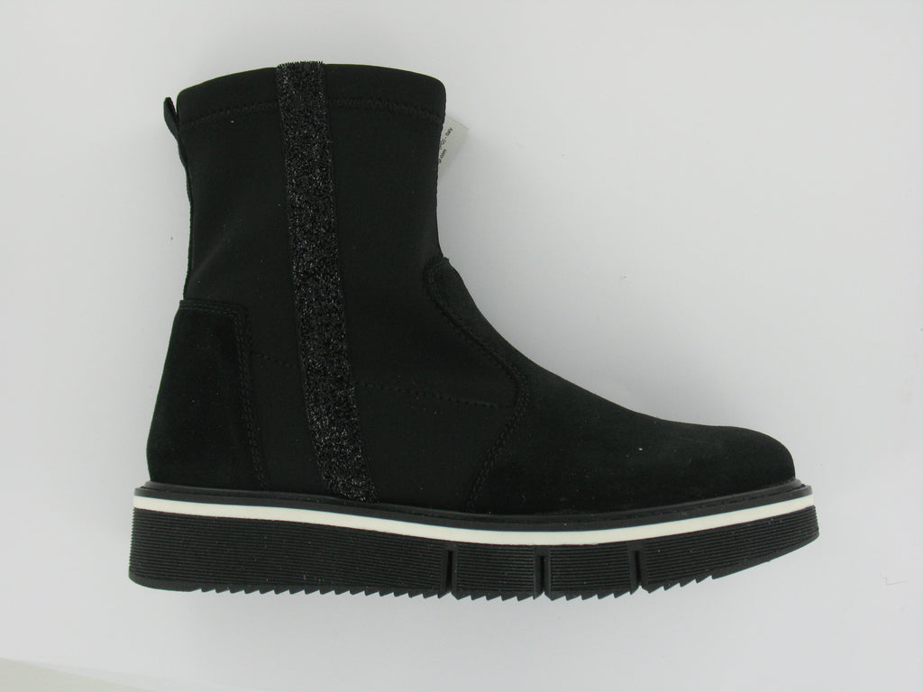 Black Suede Short Boots With Metallic Strip