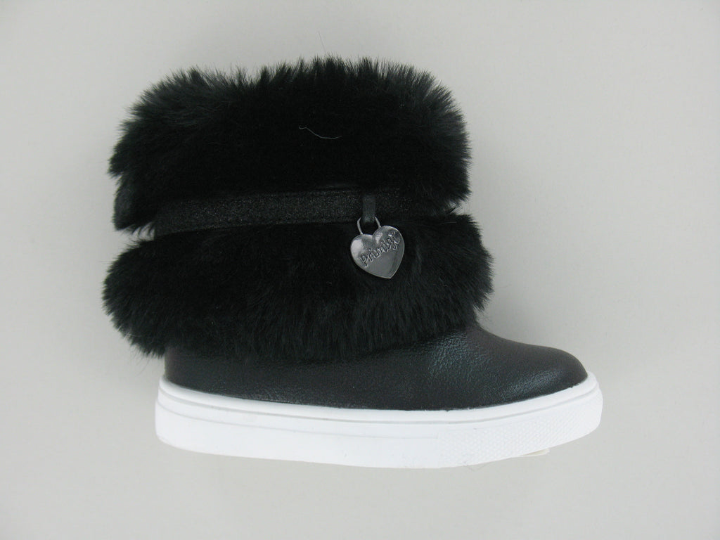Black Short Girls Boots With Fur And Heart Chain