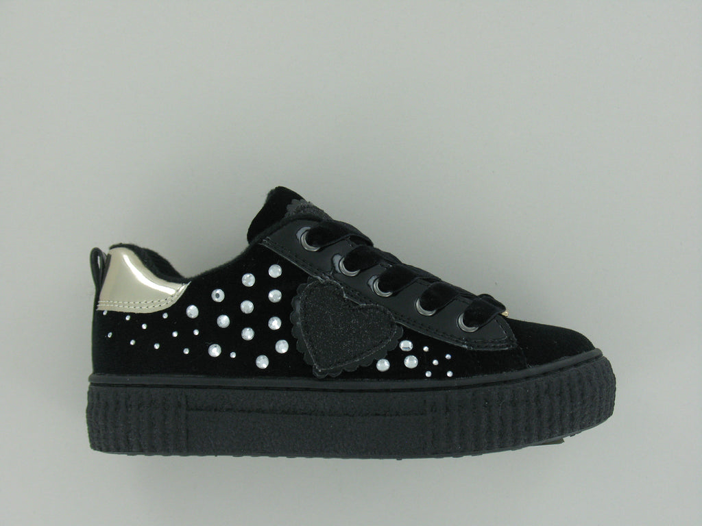 Black Suede Lace up Shoes With Silver Studs