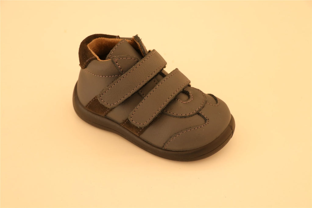 Grey Double Strap Little Boy Shoes