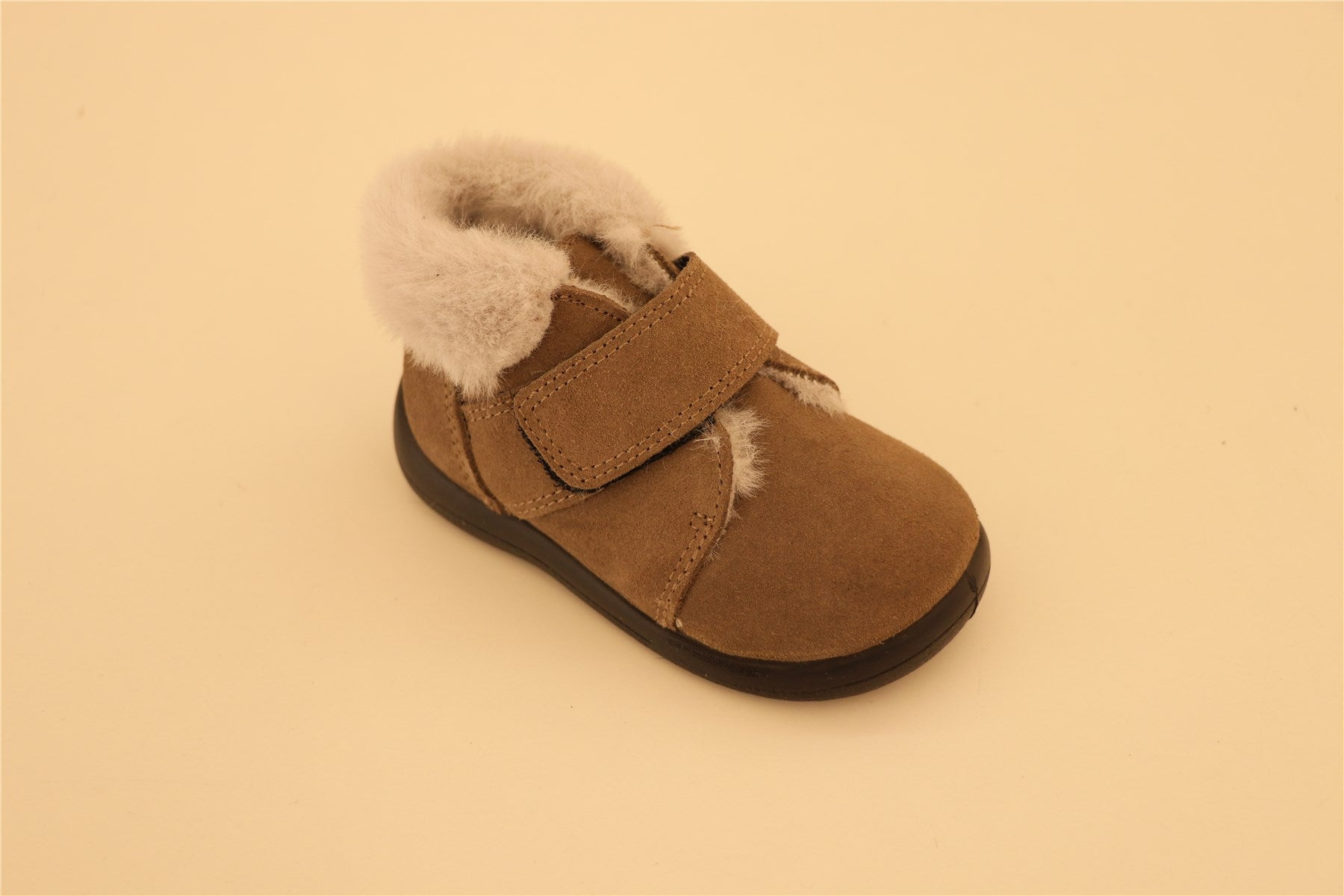 Brown Suede  With White Fur Booties With Strap