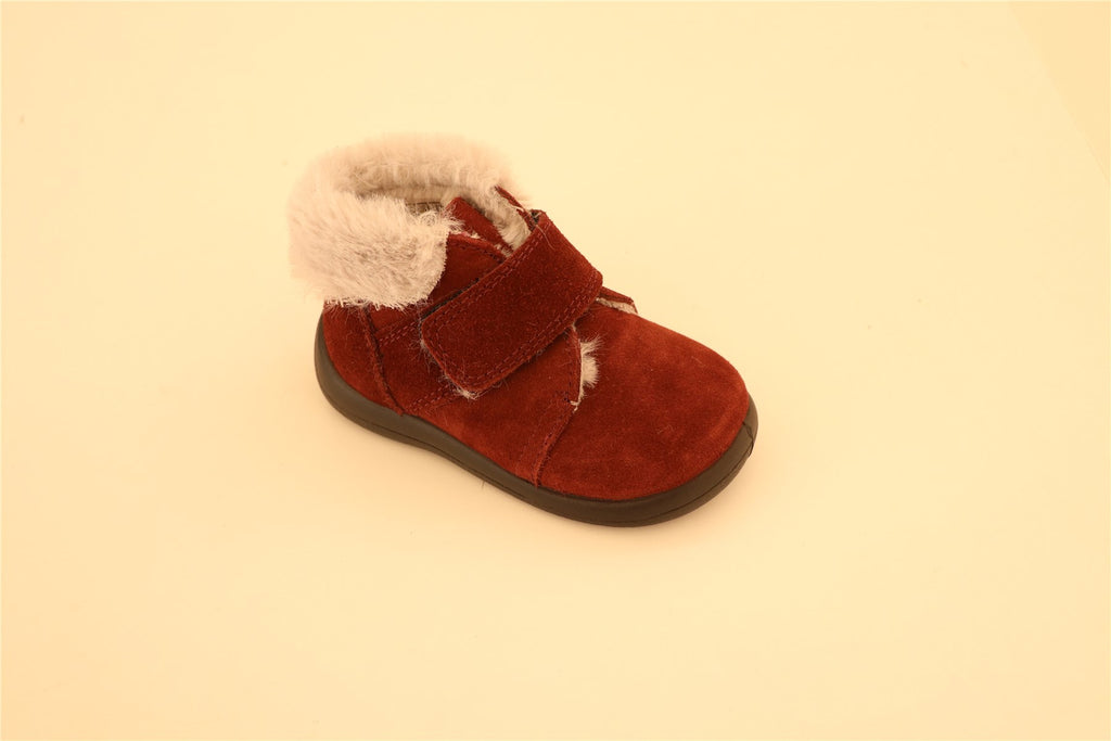Maroon Suede With White Fur Booties with Strap
