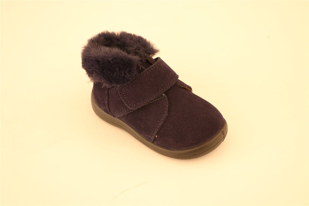 Navy Blue Suede With Fur Booties With Strap
