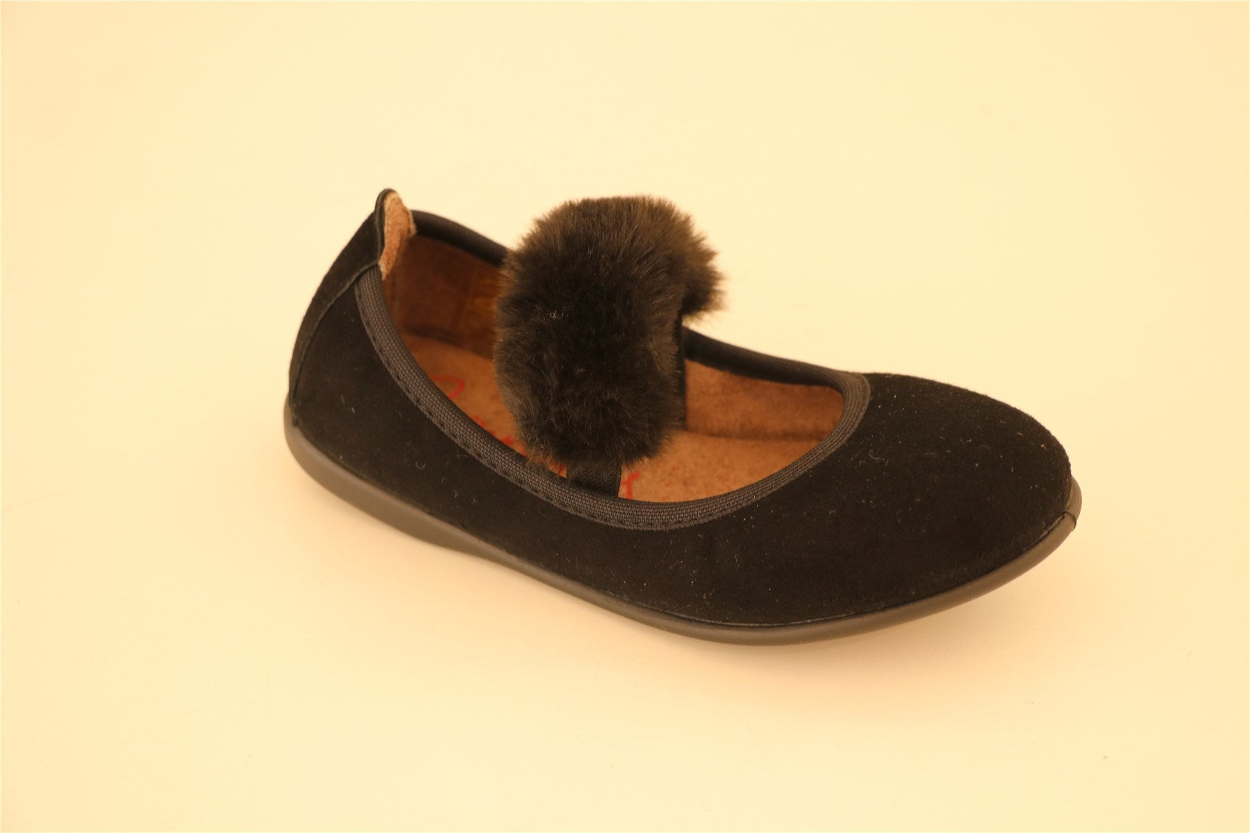 Black Suede With Fur Strap Shoes