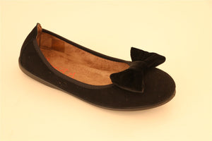 Black Suede Bow Shoe