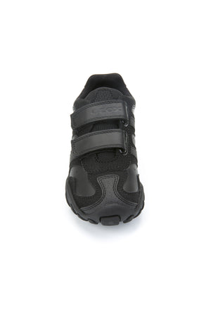 Black Leather Double Strap Sneaker