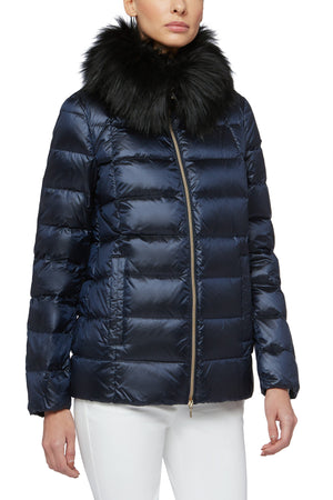 Iridescent Blue Down Coat With Fur Collar