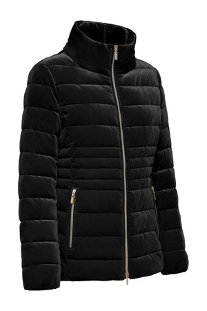 Black Velour Down Jacket With Silver Zipper