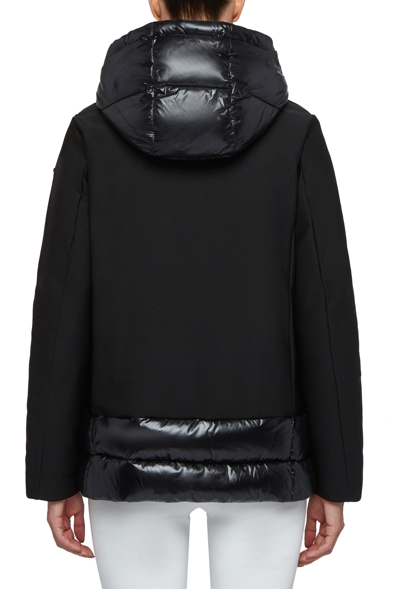 Black Rain Coat with Patent Leather Hood