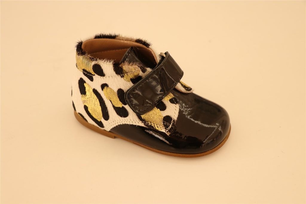 Black And Gold Leopard First Step Booties With Strap