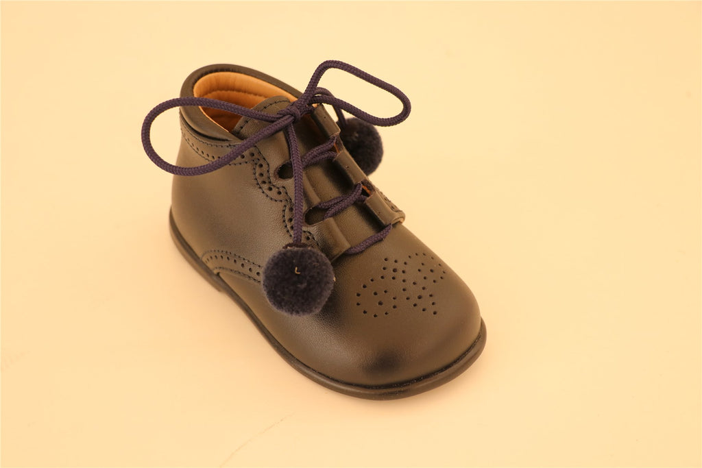 Navy Blue Lace Up First Step with Pompoms Booties