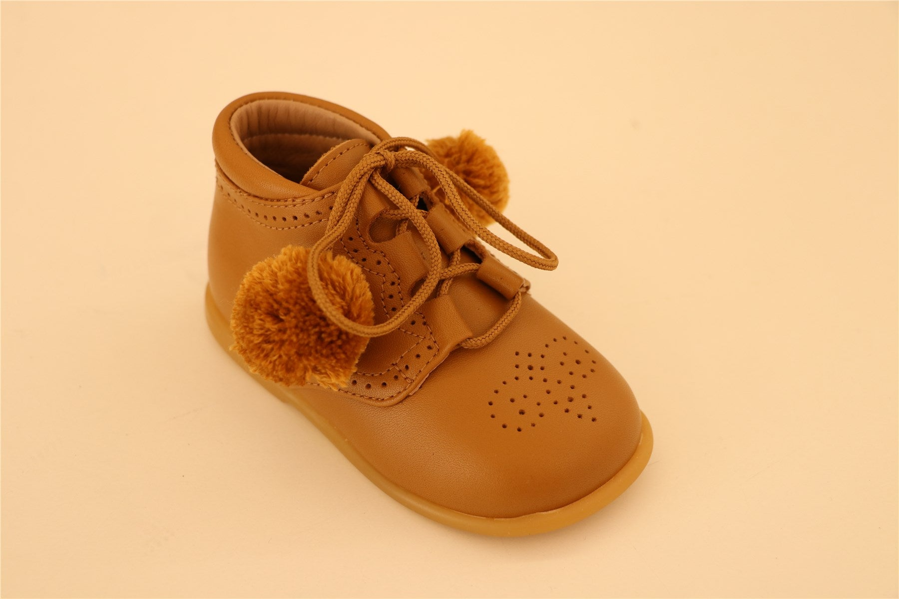 Brown Lace Up First Step With Pompoms Booties