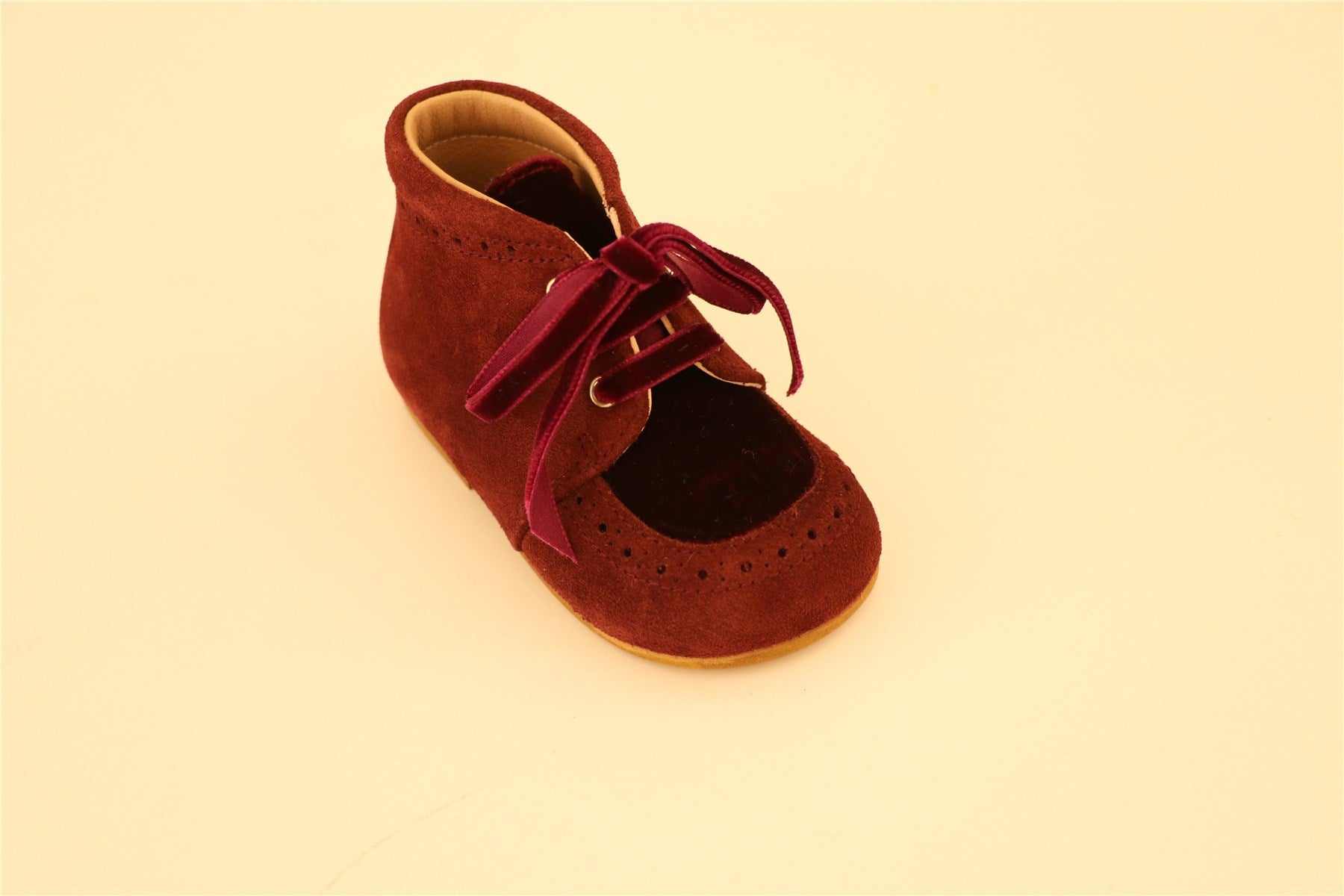 Maroon Suede and Velour First Step Booties
