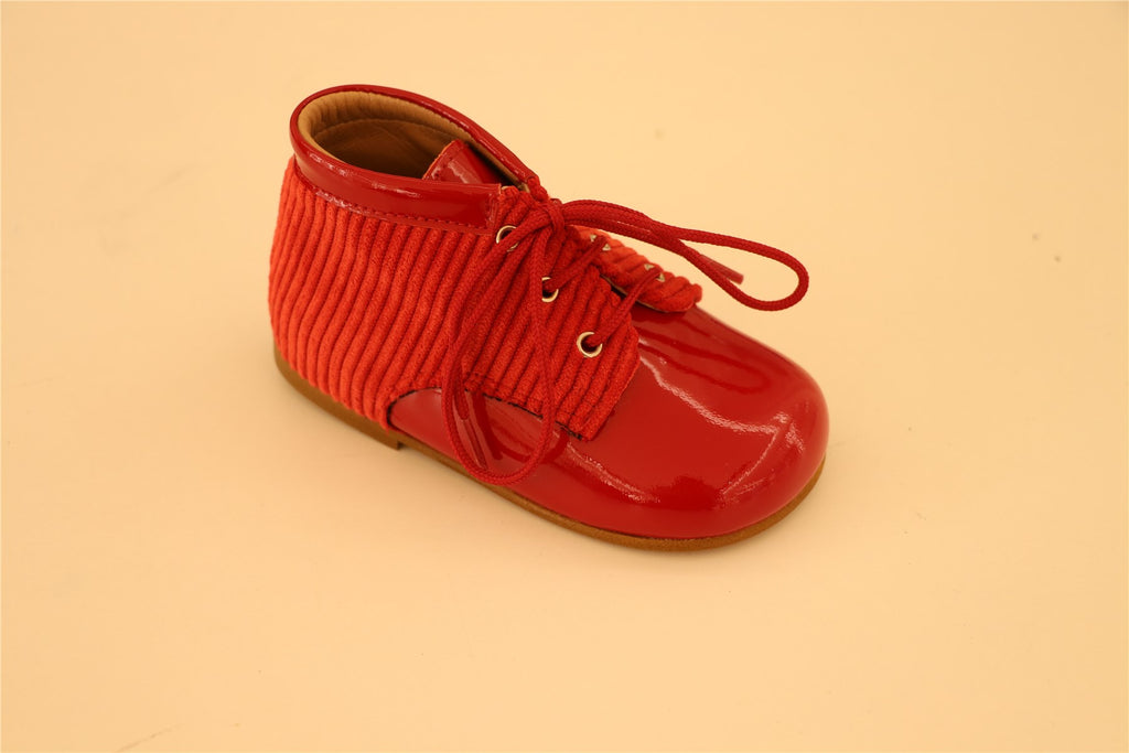 Red Patent Leather And corduroy Booties