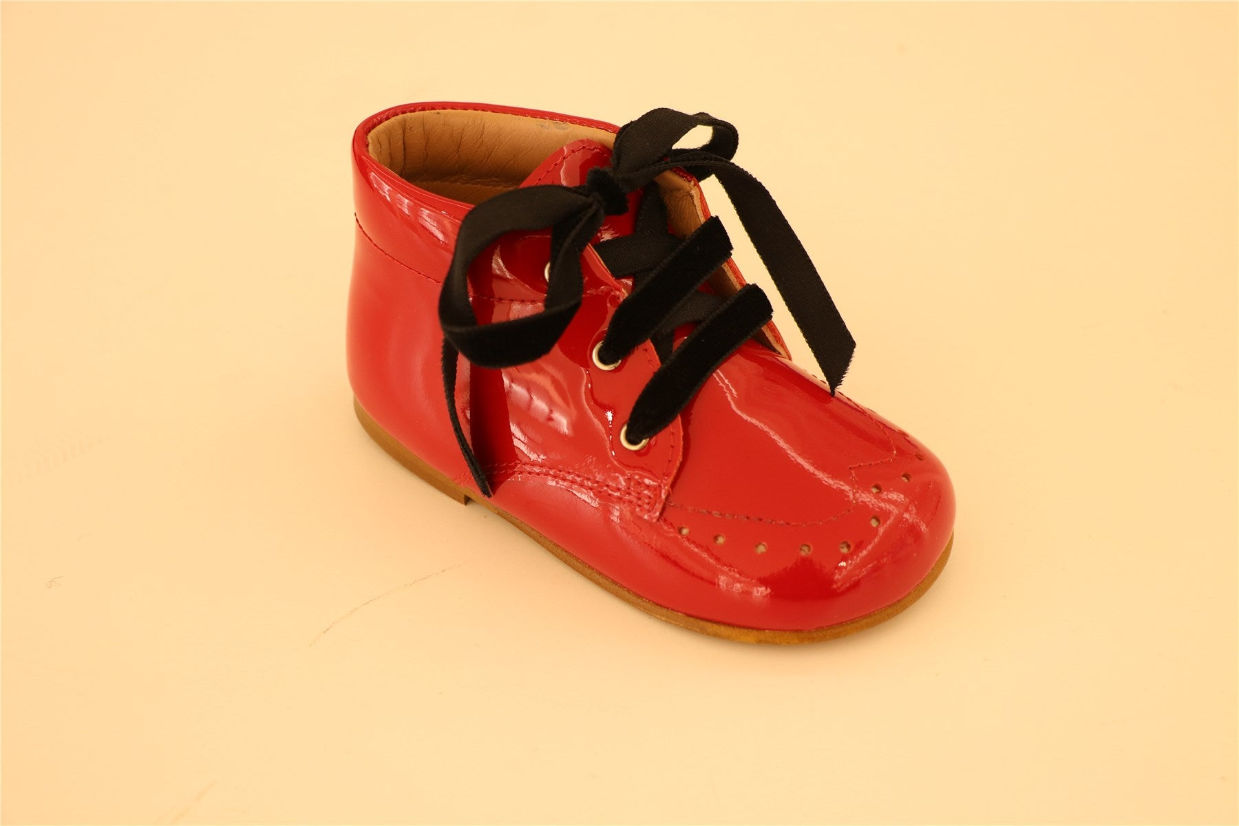 Red patent Leather With Black Velour Lace Ups Booties