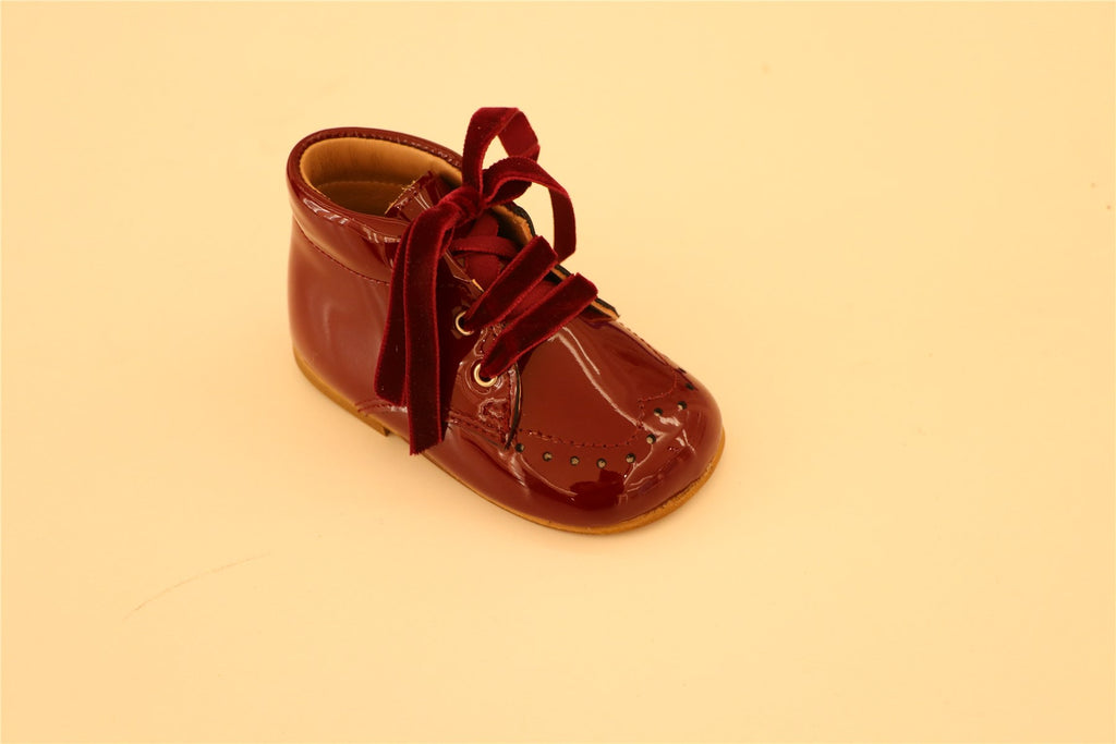 Maroon Patent leather with Velour lace up Booties