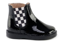 Black Patent Leather With Black and white Checkers