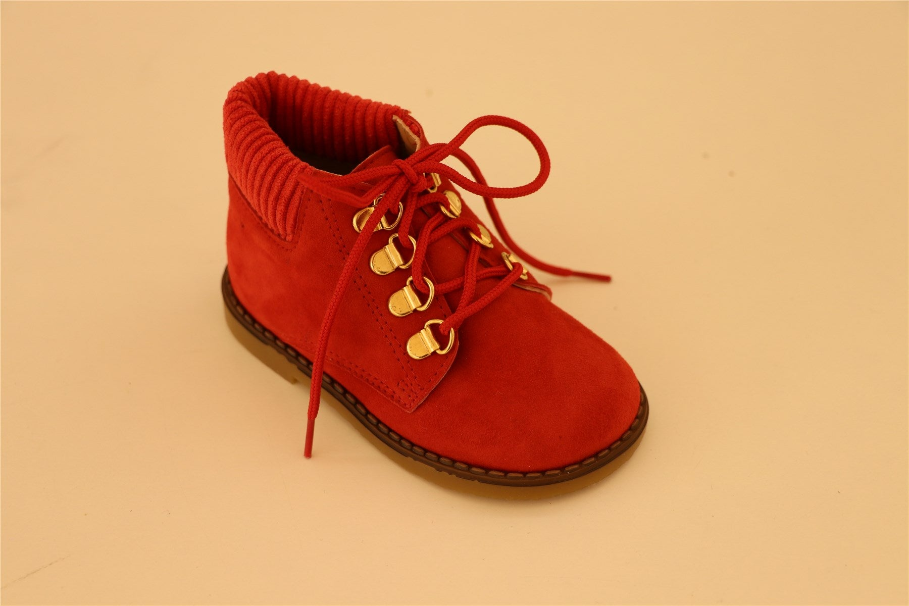 Red Suede With Gold Studs Booties
